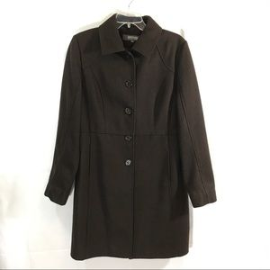 KENNETH COLE Chocolate Brown Wool Coat Size 10